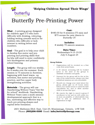 Cropped Butterfly Pre-Printing Power